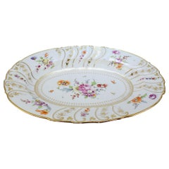 Large Antique Richard Klemm Dresden Porcelain Platter with Deutsche Blumen Decor