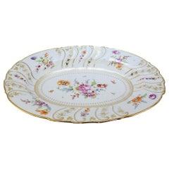 Large Antique Richard Klemm Dresden Porcelain Platter with Deutsche Blumen Decor
