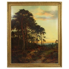 Large Antique Romantic Landscape at Sunset Oil on Canvas