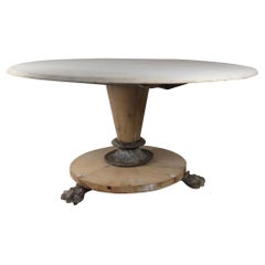 Large Antique Round Bleached Mahogany and Pine Table in Palladian Style