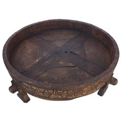 Large Antique Round Tribal Grinder Table