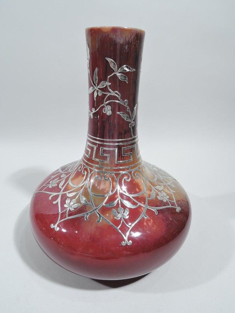Art Nouveau Large Antique Royal Doulton Flambé Vase with Silver Overlay For Sale
