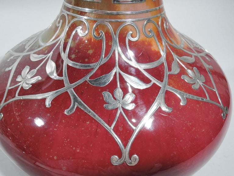 Large Antique Royal Doulton Flambé Vase with Silver Overlay In Excellent Condition For Sale In New York, NY