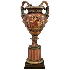Large Antique Royal Worcester Majolica Exhibition Vase or Urn J. Rushton Styled