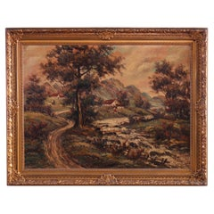 Large Antique Rural Pastoral Landscape Oil Painting O/C, Circa 1930