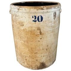Large Antique Rustic Stoneware Crock Vessel