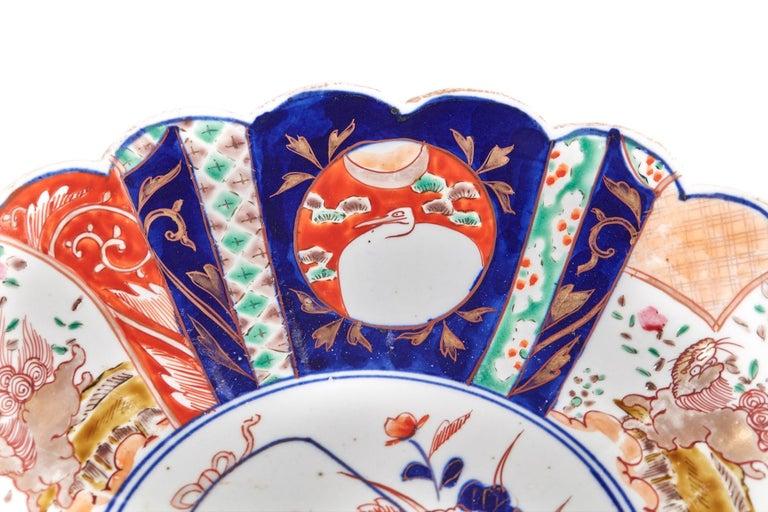 Victorian Large Antique Scalloped Edge Japanese Imari Porcelain Dish For Sale