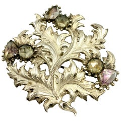 Large Antique Scottish Silver and Quartz Thistle Pendant/Brooch, 19th Century