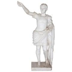 Large Antique Sculpted Marble Figure of Caesar Augustus
