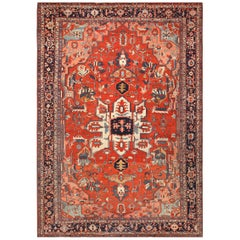 Large Antique Serapi Persian Rug. Size: 12 ft x 17 ft 6 in (3.66 m x 5.33 m)