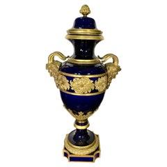 Large Antique Sevres Cobalt-Blue Ormolu Mounted Covered Urn