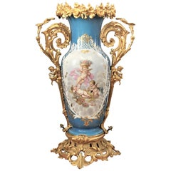 Large Antique Sevres Styled Hand-Painted Porcelain Vase with Gilt Bronze Mounts