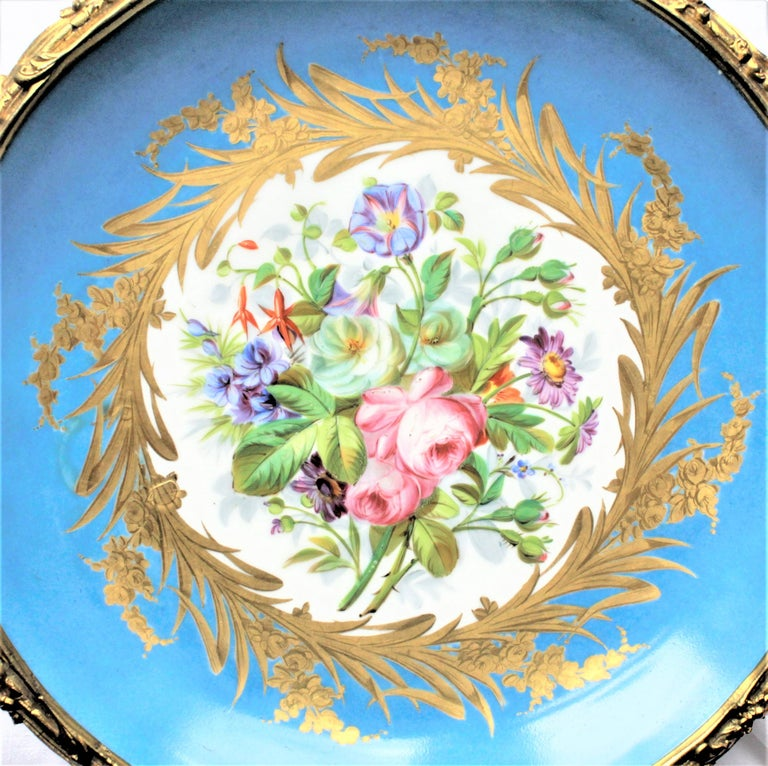 Large Antique Sevres Styled Turquoise Centerpiece Bowl with Gilt Bronze Mounts For Sale 3