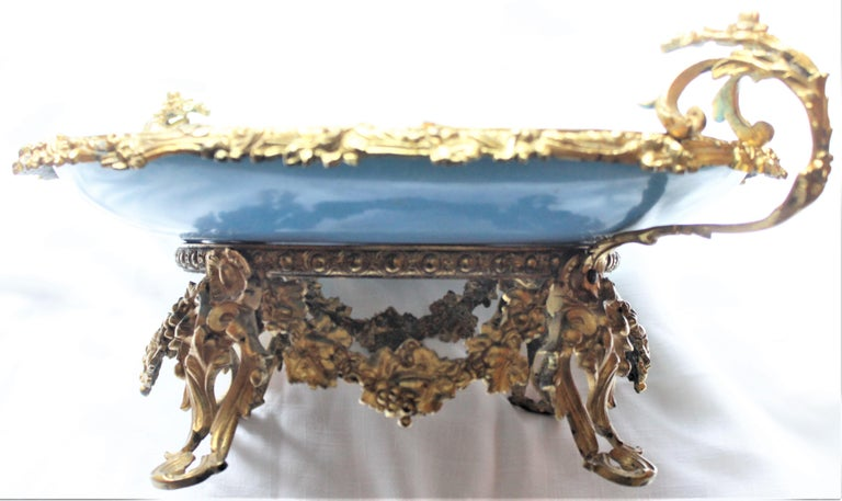 Large Antique Sevres Styled Turquoise Centerpiece Bowl with Gilt Bronze Mounts For Sale 6