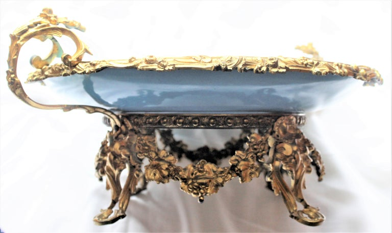 Large Antique Sevres Styled Turquoise Centerpiece Bowl with Gilt Bronze Mounts For Sale 7