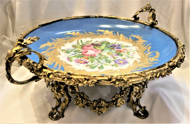 Louis XV Large Antique Sevres Styled Turquoise Centerpiece Bowl with Gilt Bronze Mounts For Sale