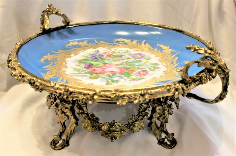 French Large Antique Sevres Styled Turquoise Centerpiece Bowl with Gilt Bronze Mounts For Sale