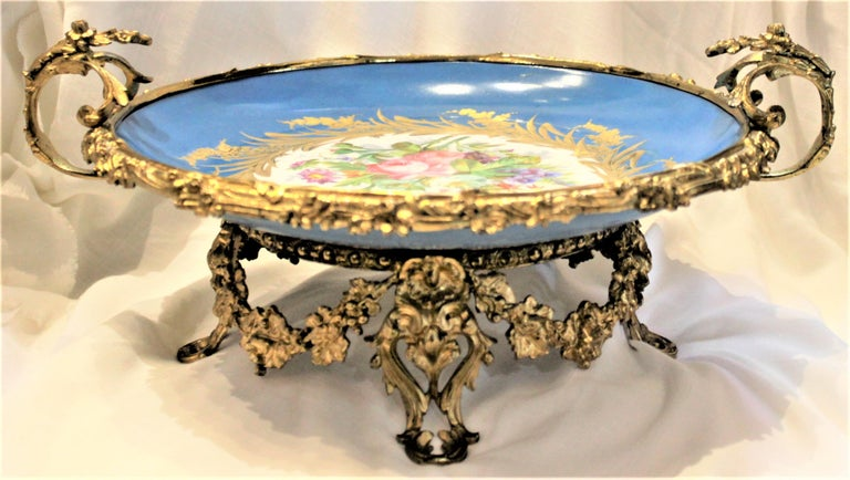 Cast Large Antique Sevres Styled Turquoise Centerpiece Bowl with Gilt Bronze Mounts For Sale