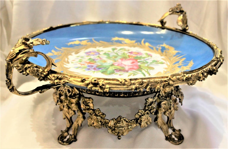 Large Antique Sevres Styled Turquoise Centerpiece Bowl with Gilt Bronze Mounts In Good Condition For Sale In Hamilton, Ontario