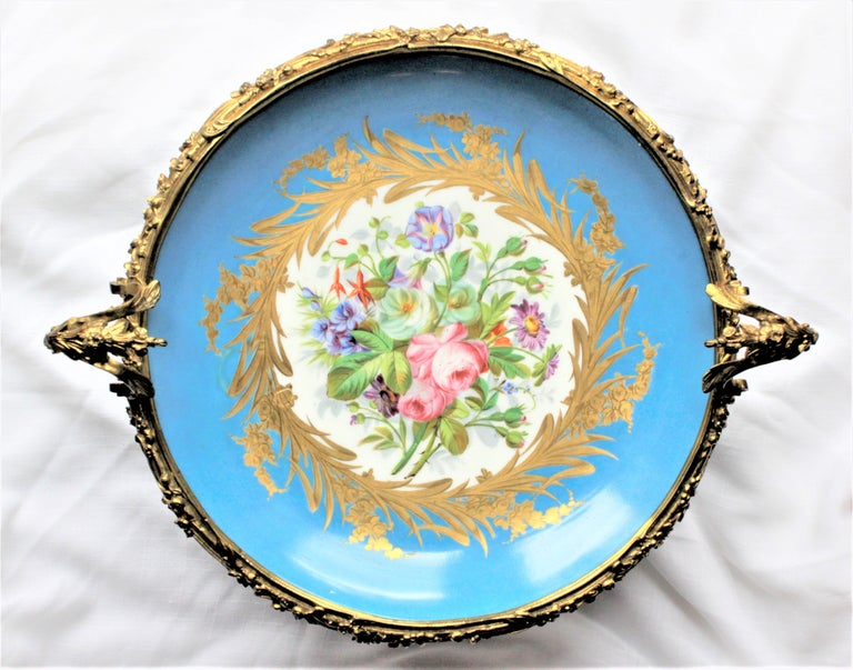 19th Century Large Antique Sevres Styled Turquoise Centerpiece Bowl with Gilt Bronze Mounts For Sale
