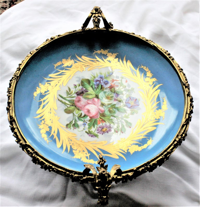 Large Antique Sevres Styled Turquoise Centerpiece Bowl with Gilt Bronze Mounts For Sale 1