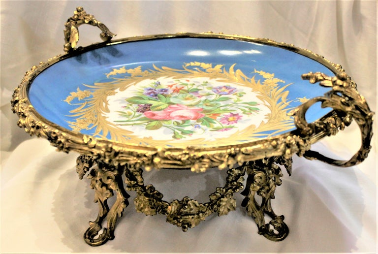 Large Antique Sevres Styled Turquoise Centerpiece Bowl with Gilt Bronze Mounts For Sale 2