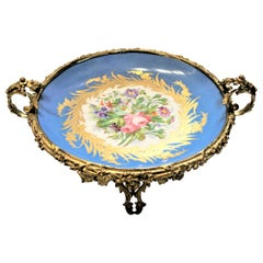 Large Antique Sevres Styled Turquoise Centerpiece Bowl with Gilt Bronze Mounts