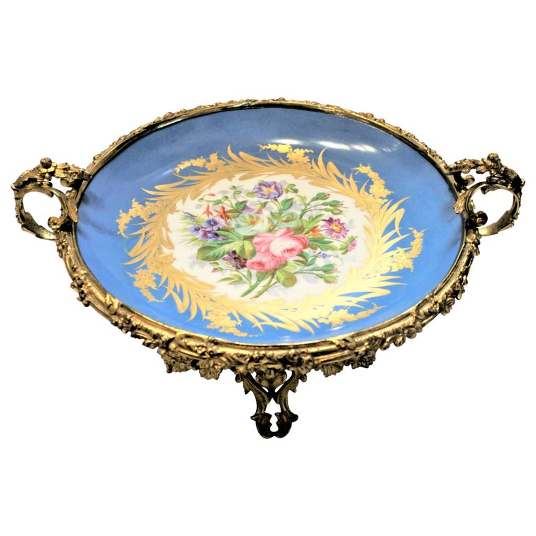 Large Antique Sevres Styled Turquoise Centerpiece Bowl with Gilt Bronze Mounts For Sale