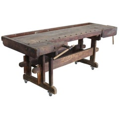 Large Antique Shaker Cabinet Makers Workbench, circa 1800s