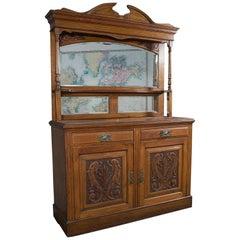 Large Antique Sideboard, English, Oak, Mirror, Cabinet, Arts & Crafts, Victorian