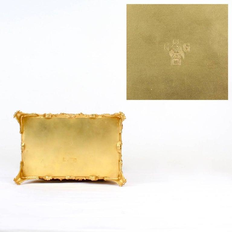 Large Antique Signed Gilt Doré Bronze Casket or Box with Landscape Scenes For Sale 4