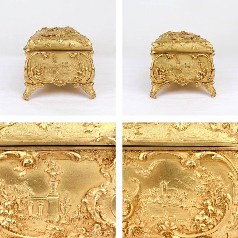 20th Century Large Antique Signed Gilt Doré Bronze Casket or Box with Landscape Scenes For Sale