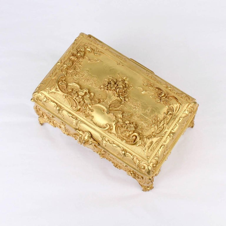Large Antique Signed Gilt Doré Bronze Casket or Box with Landscape Scenes For Sale 1