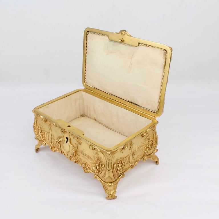 Large Antique Signed Gilt Doré Bronze Casket or Box with Landscape Scenes For Sale 2