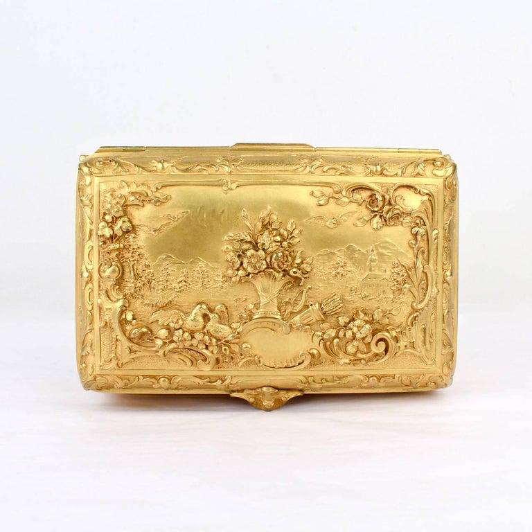 Large Antique Signed Gilt Doré Bronze Casket or Box with Landscape Scenes For Sale 3