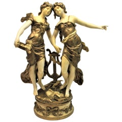 Large Antique Signed Moreau Cast and Cold Painted Sculpture of Dancing Women