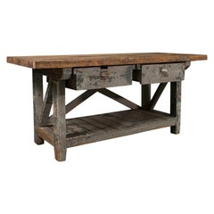Large Antique Silversmith's Bench, English, Pine, Craftsman's Table, Victorian