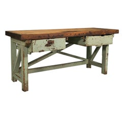 Large Antique Silversmith's Table, English, Pine, Industrial, Bench, Victorian