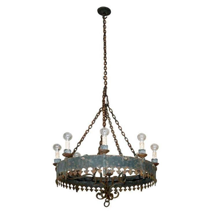 Large Antique Spanish Iron Chandelier For Sale - Large Antique Spanish Iron Chandelier For Sale At 1stdibs