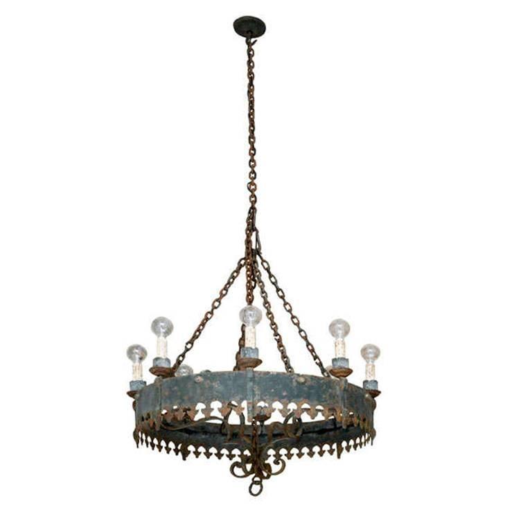 Large antique spanish iron chandelier for sale at 1stdibs large antique spanish iron chandelier for sale aloadofball Choice Image