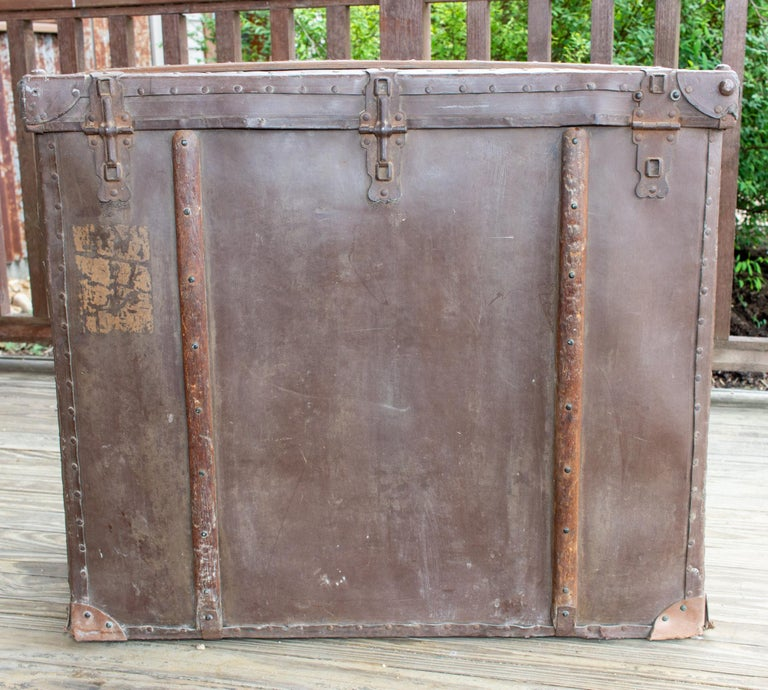Large Antique Spanish Leather Trunk Made by Absil For Sale 12