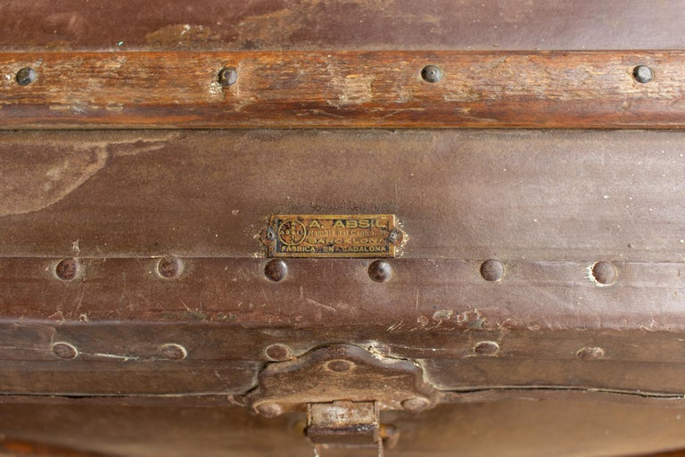 Large Antique Spanish Leather Trunk Made by Absil For Sale 2