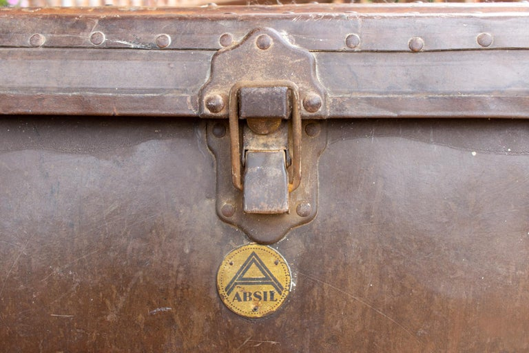 Large Antique Spanish Leather Trunk Made by Absil For Sale 5