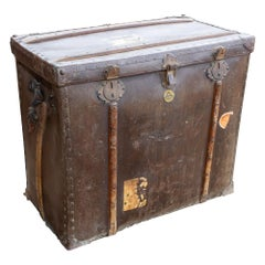 Large Antique Spanish Leather Trunk Made by Absil