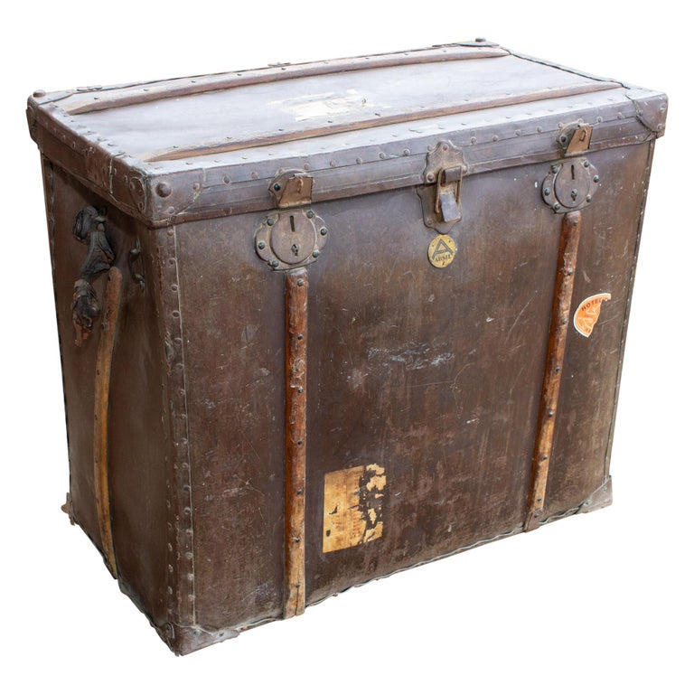 Large Antique Spanish Leather Trunk Made by Absil For Sale