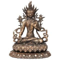 Large Antique Statue of Silver Brass Tibetan White Tara
