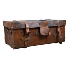 Large Antique Steamer Trunk, English, Edwardian, Leather, Travel Case circa 1910