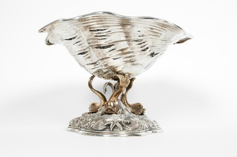 Italian Large Antique Sterling Silver Centerpiece For Sale