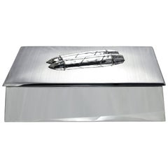Large Antique Sterling Silver Cigar Box