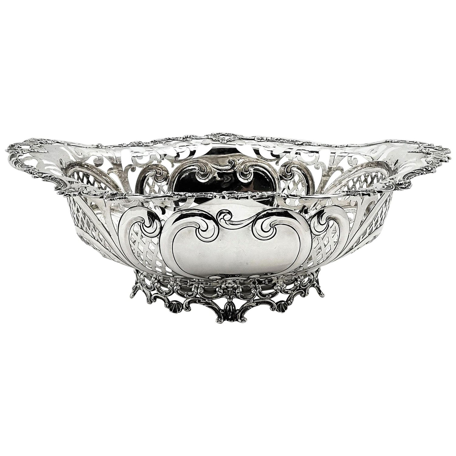 Large Antique Sterling Silver Gorham Bowl or Basket, USA, circa 1910